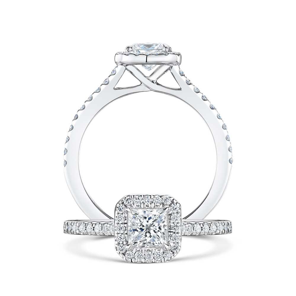 Halo Princess Cut Diamond Engagement Ring