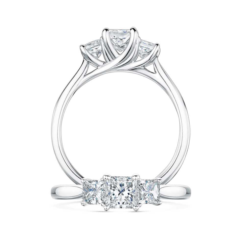 Trilogy Princess Cut Diamond Engagement Ring