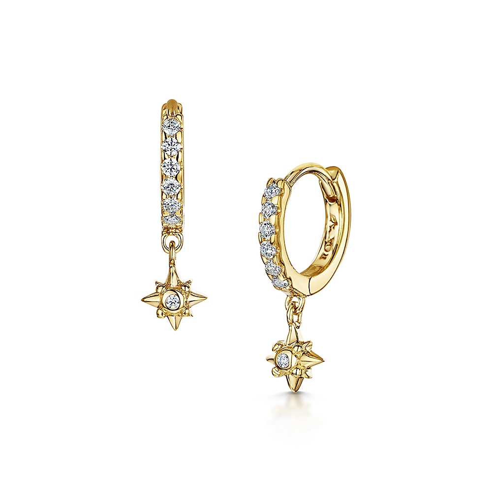 ROX Celestial Gold Vermeil Hoop and Star Earrings