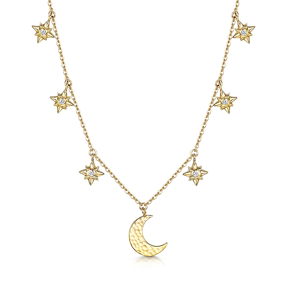 ROX Celestial Gold Vermeil Moon and Star Pendant