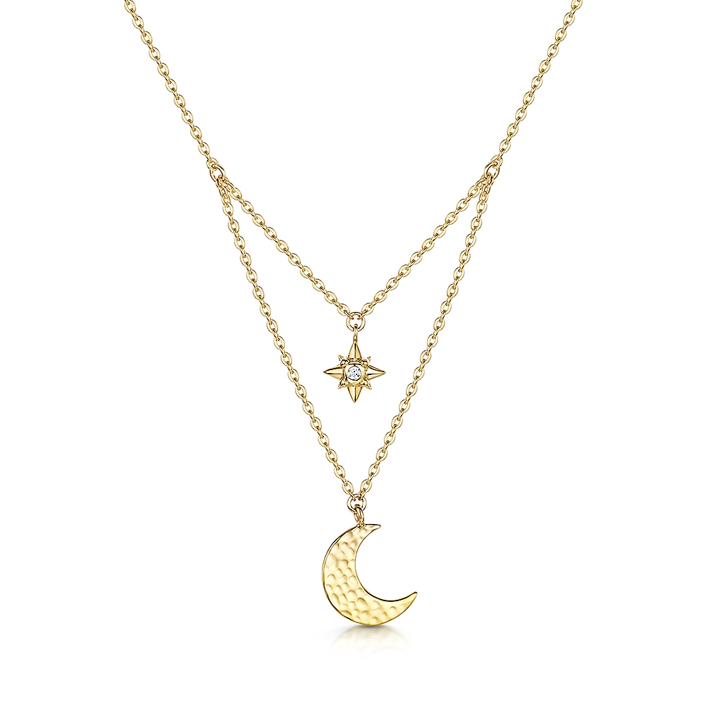 Gold Vermeil Moon and Star Pendant