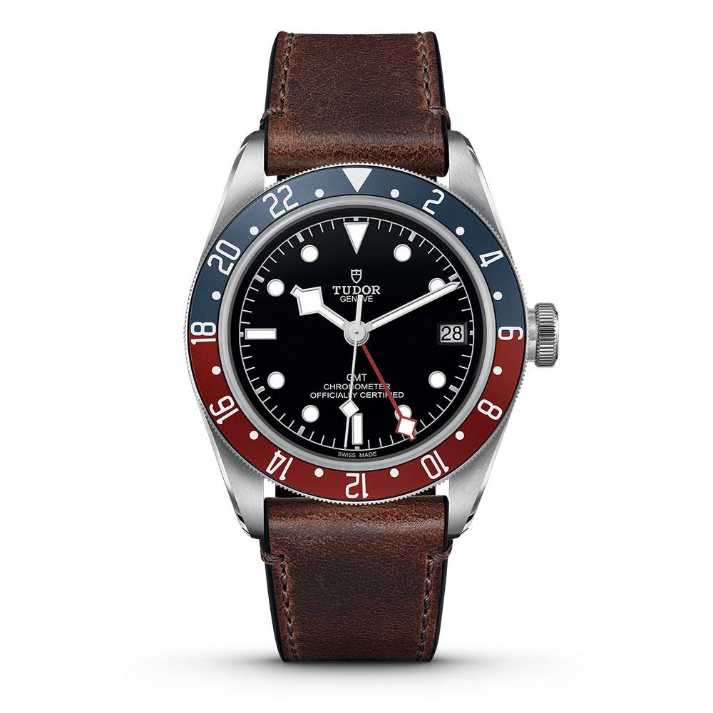 Tudor Black Bay GMT Leather Strap Watch M79830RB