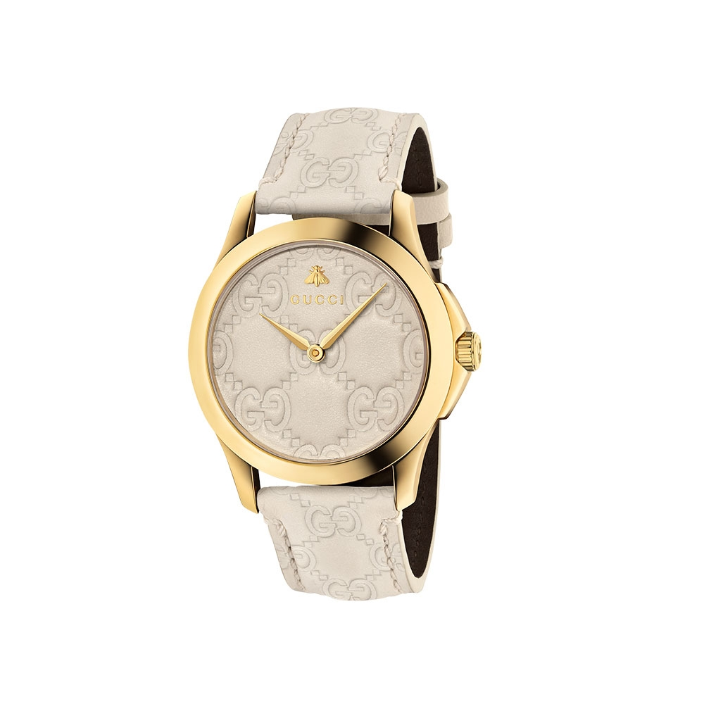 Gucci G-Timeless Cream Leather Watch