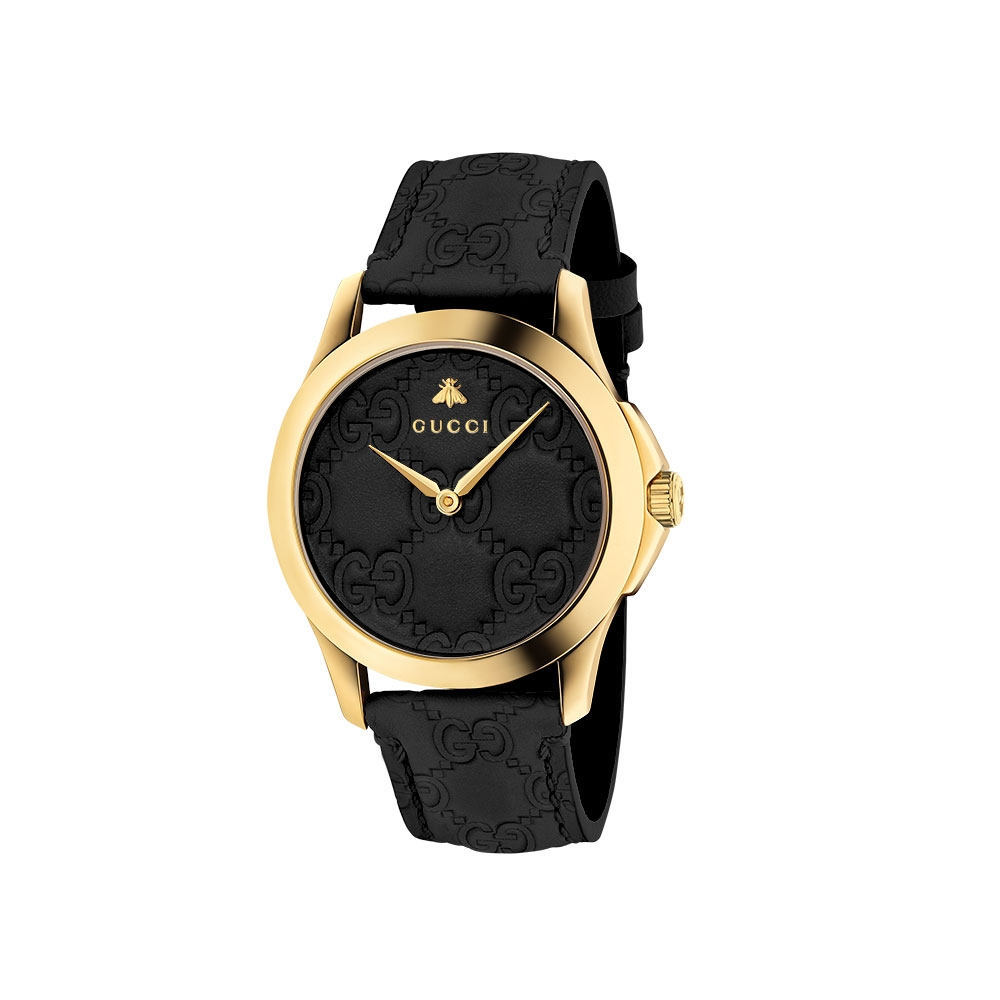 Gucci G-Timeless Black Leather Watch