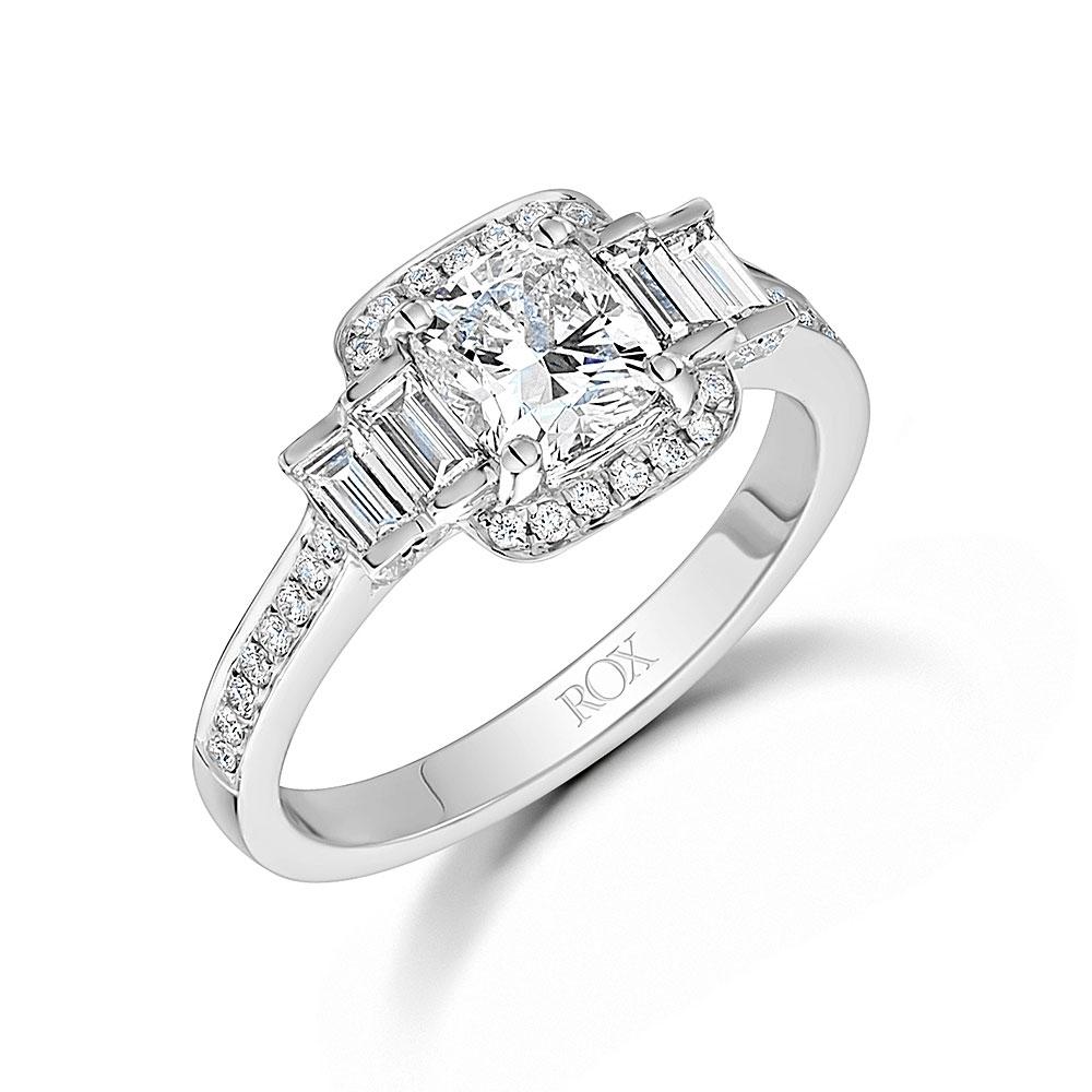 ROX Cushion Cut Diamond Halo Ring 1.75cts