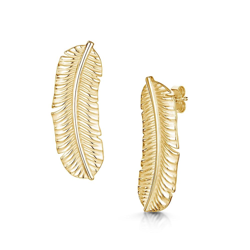 ROX Tiki Gold Vermeil Long Leaf Stud Earrings
