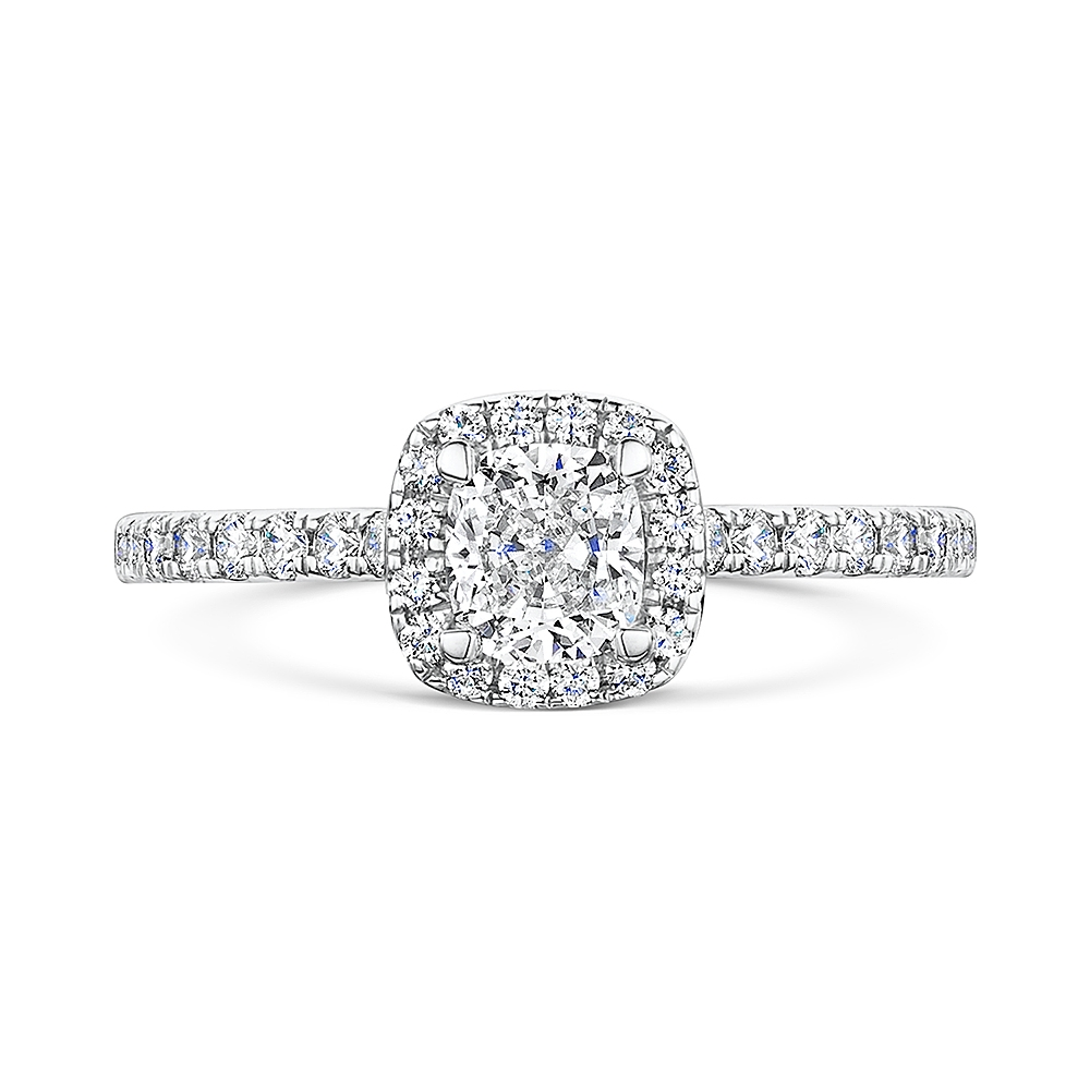 ROX Cushion Cut Diamond Halo Ring 1.11cts