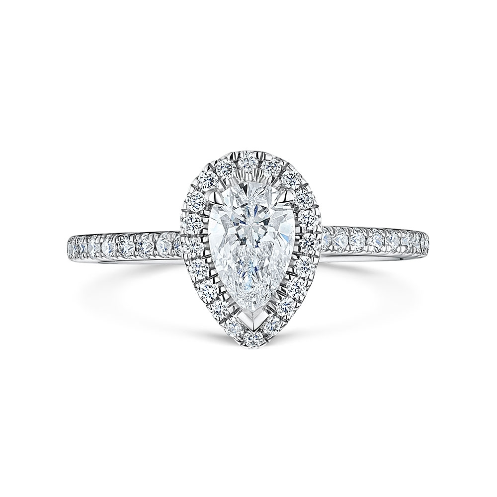 ROX Pear Cut Diamond Halo Ring 0.87cts