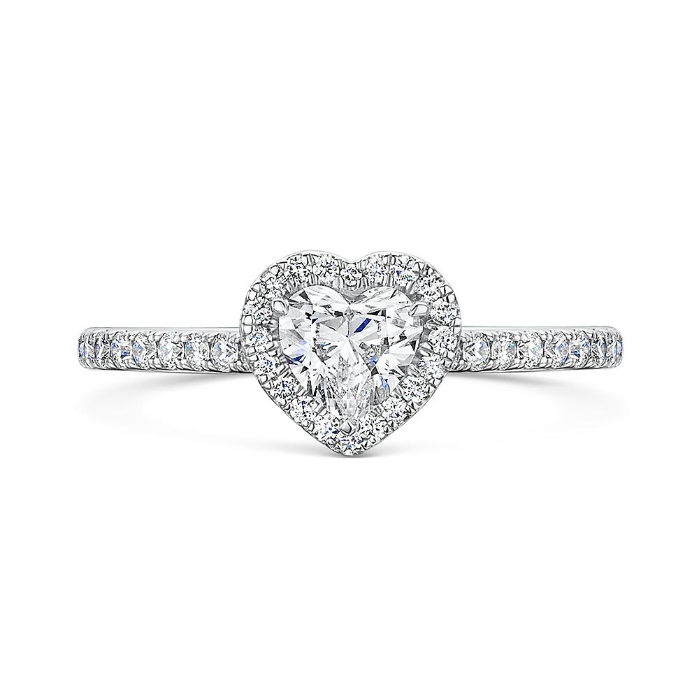 ROX Heart Cut Diamond Halo Ring 0.87cts