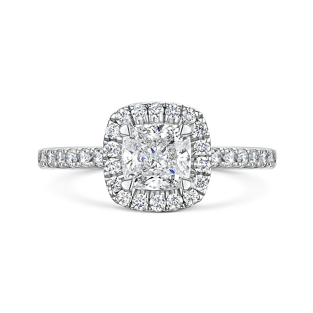 ROX Cushion Cut Diamond Halo Ring 1.36cts