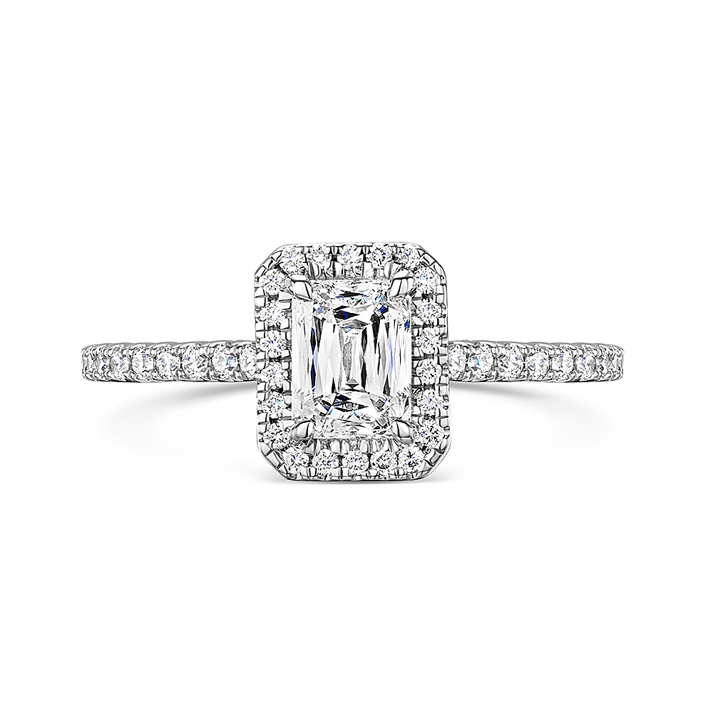 ROX Crisscut® Emerald Diamond Halo Ring 1.05ct