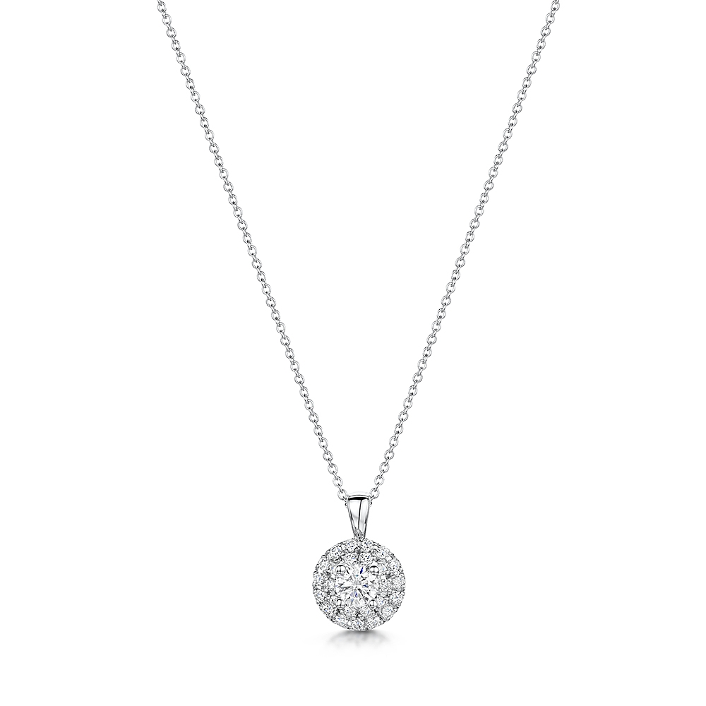 Vintage Diamond Halo Necklace 0.33cts