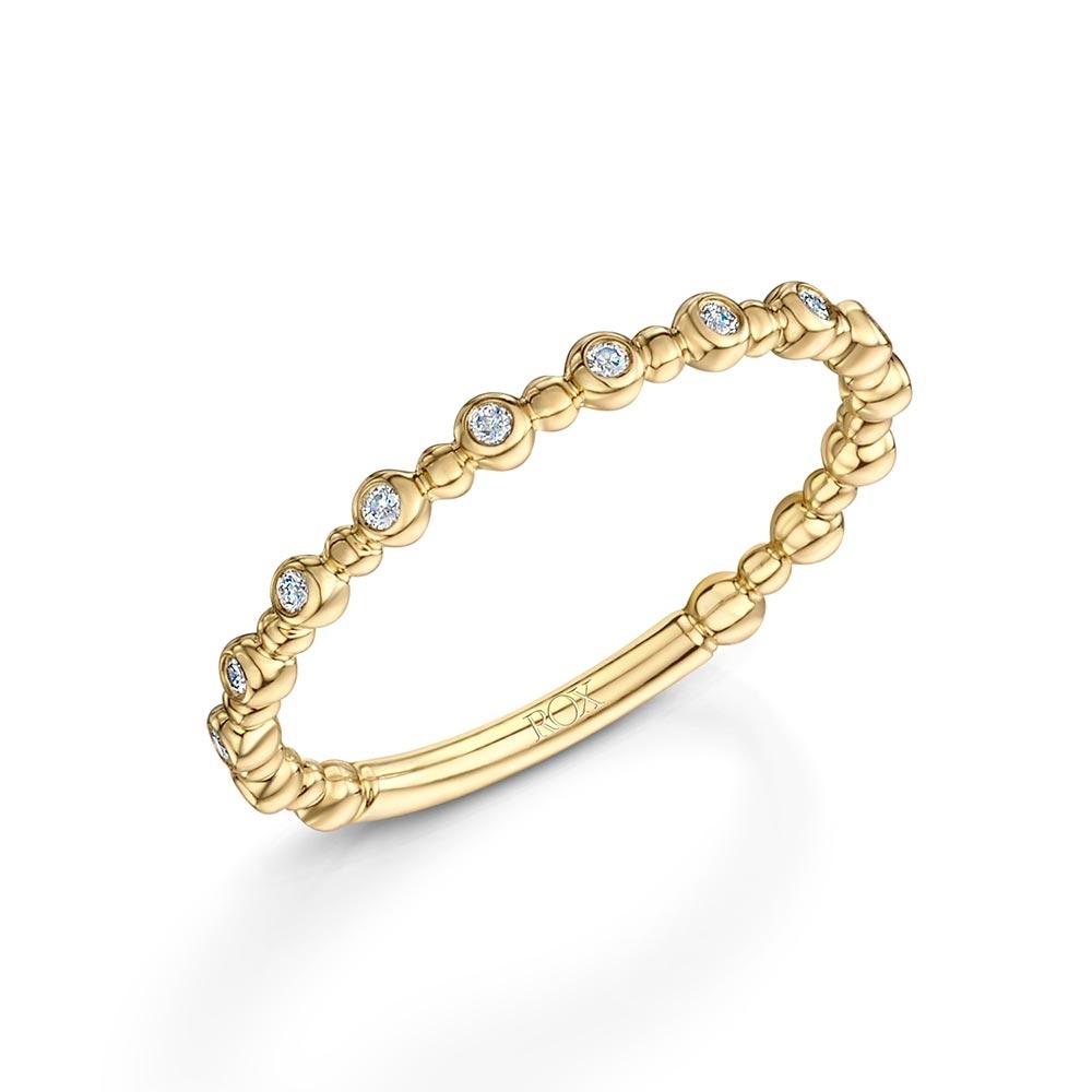 ROX Diamond Beaded Stacking Ring 0.09ct