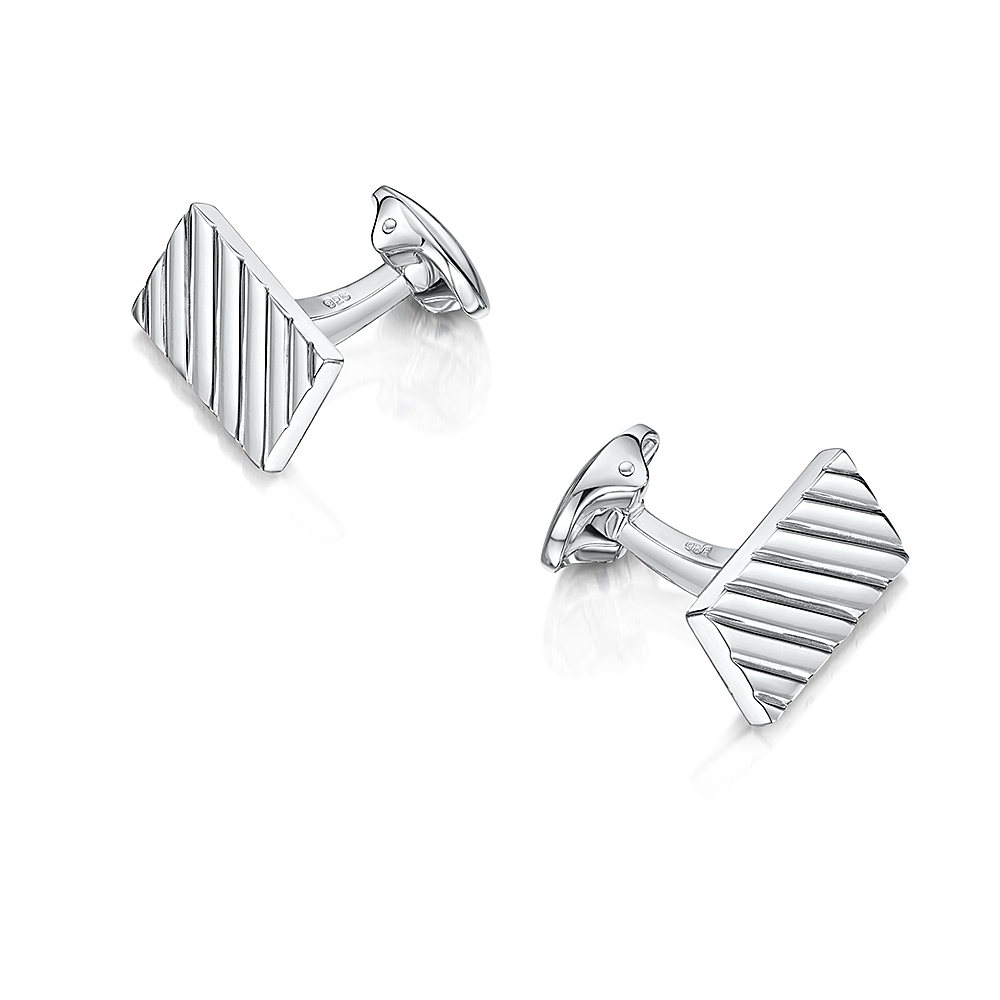 ROX Classic Rectangle Lathed Cufflinks
