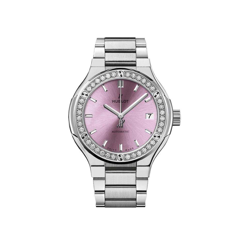 Hublot Classic Fusion Titanium Pink Bracelet Watch 33mm 585.NX.891P.NX.1204