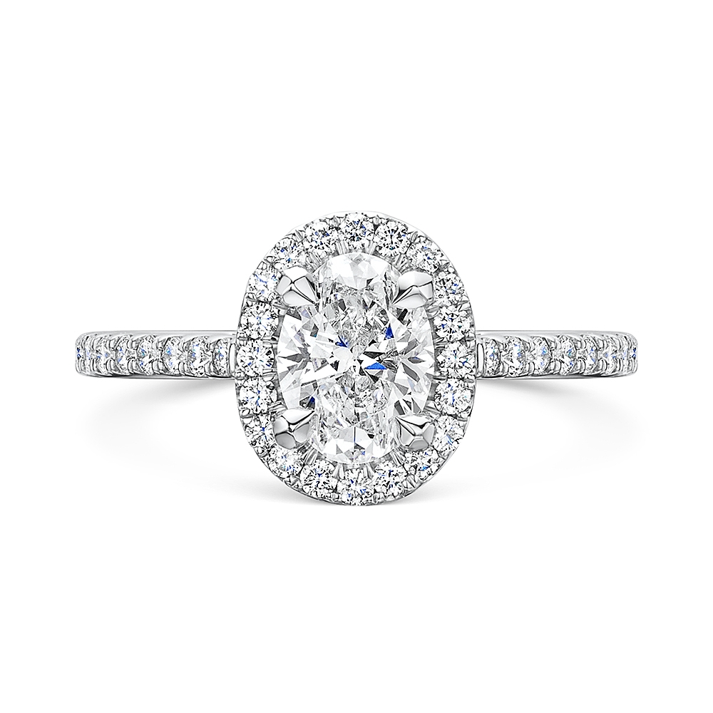 ROX Oval Cut Diamond Halo Ring 1.47cts