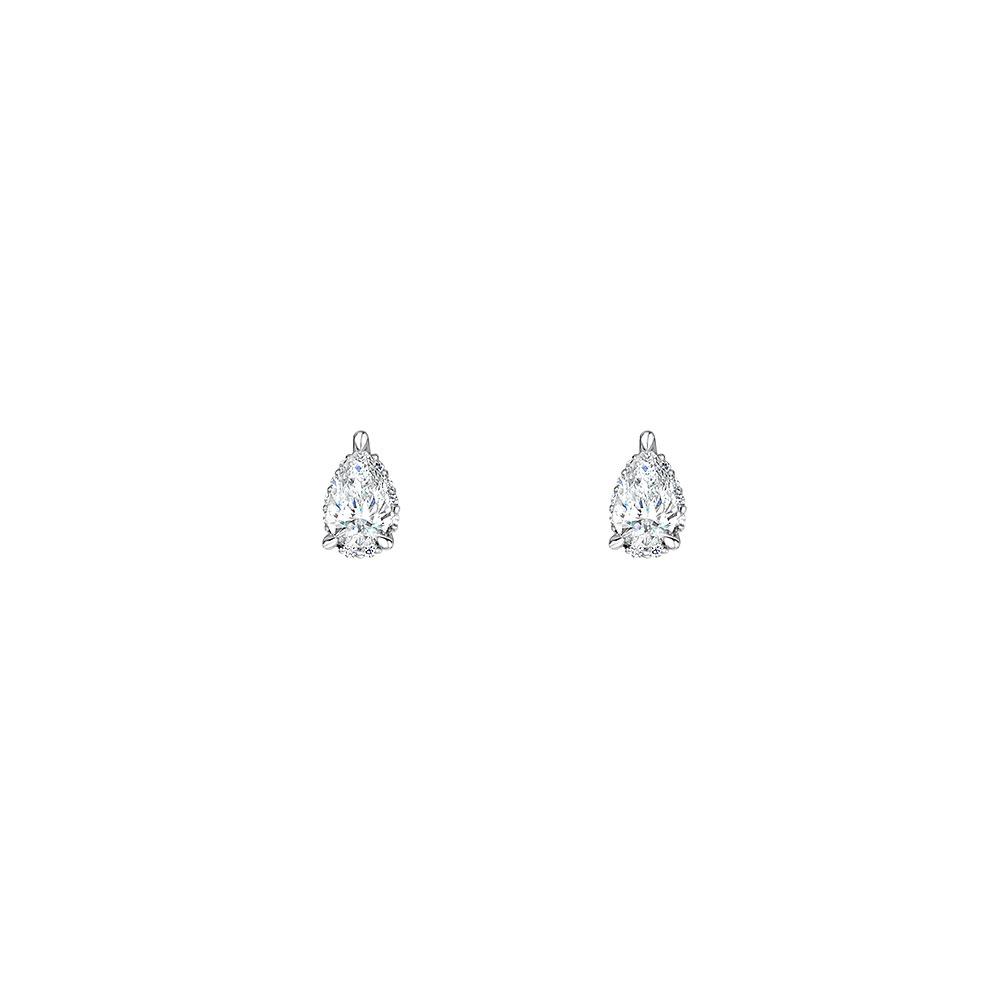 ROX Diamond Halo Pear Earrings 0.46cts