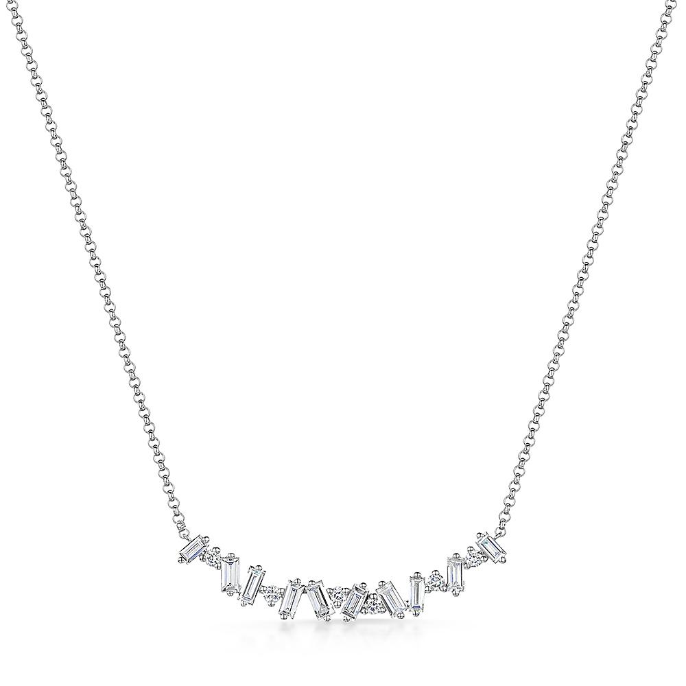 ROX Diamond Bageutte Cut Necklace 0.54cts