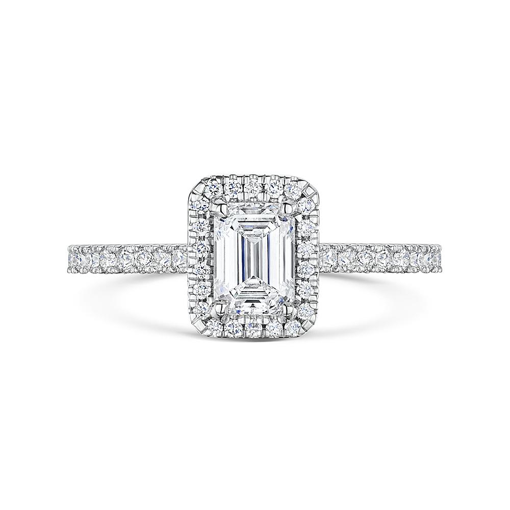 ROX Emerald Halo Diamond Ring 1.10ct