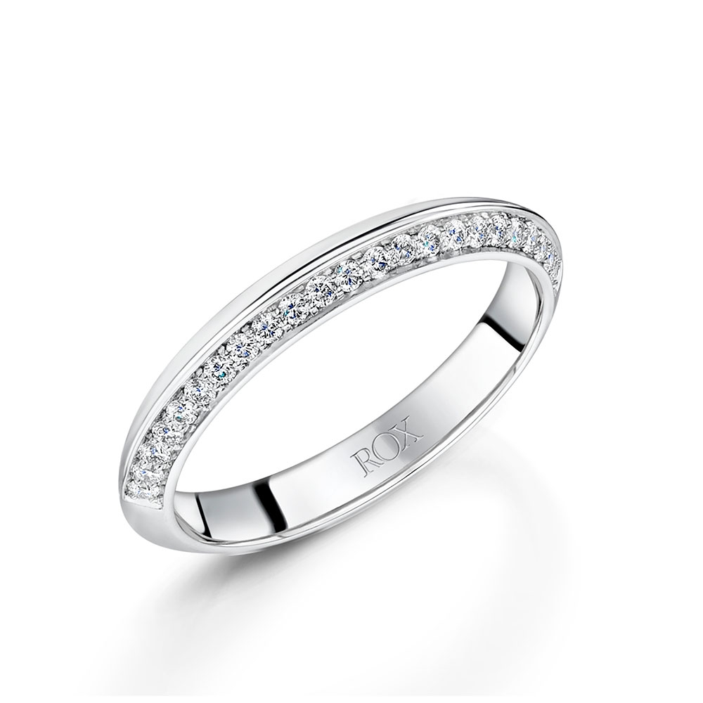 ROX Platinum Diamond Knife Edge Wedding Ring 3mm