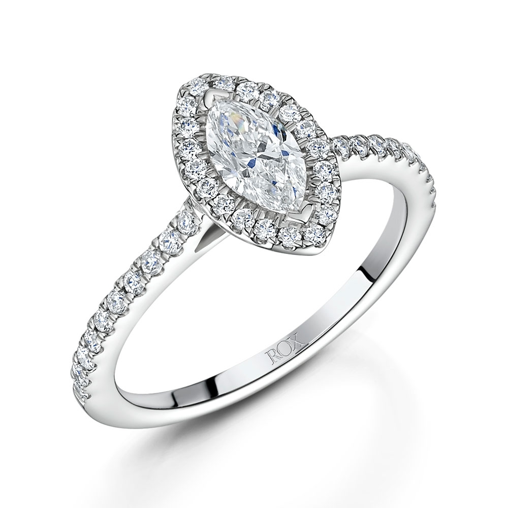 ROX Marquise Cut Diamond Halo Ring 0.86cts