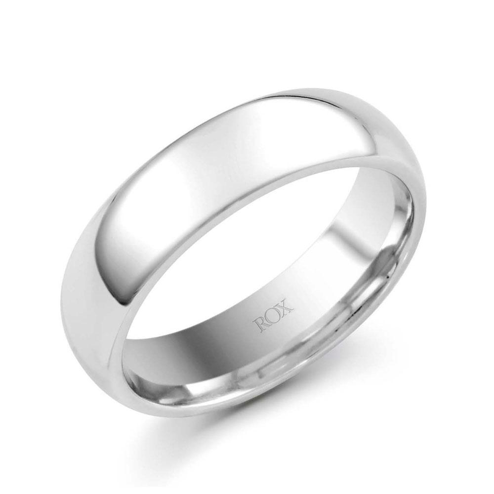 ROX Platinum Court Wedding Ring 6mm
