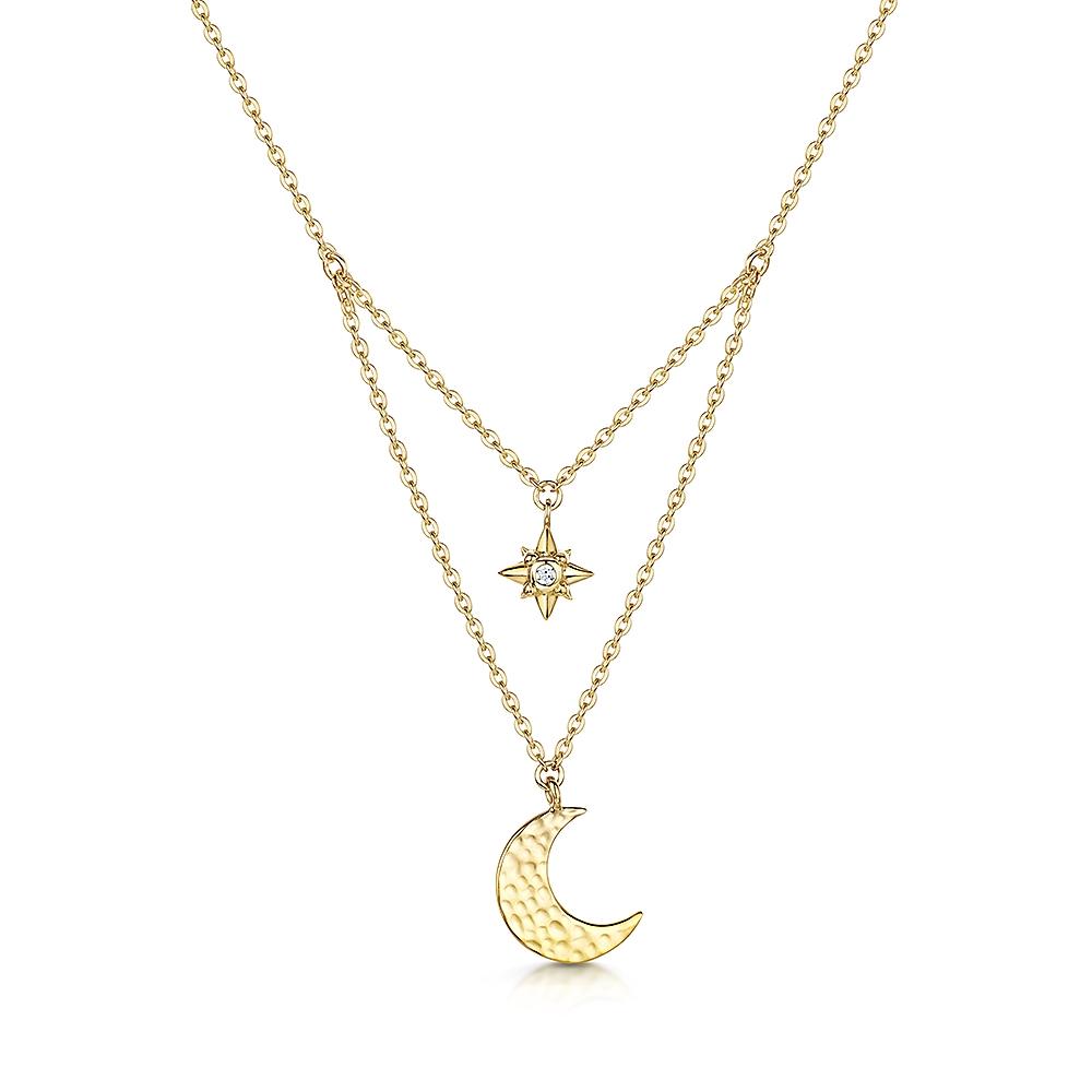 ROX Celestial Gold Vermeil Moon and Star Pendant