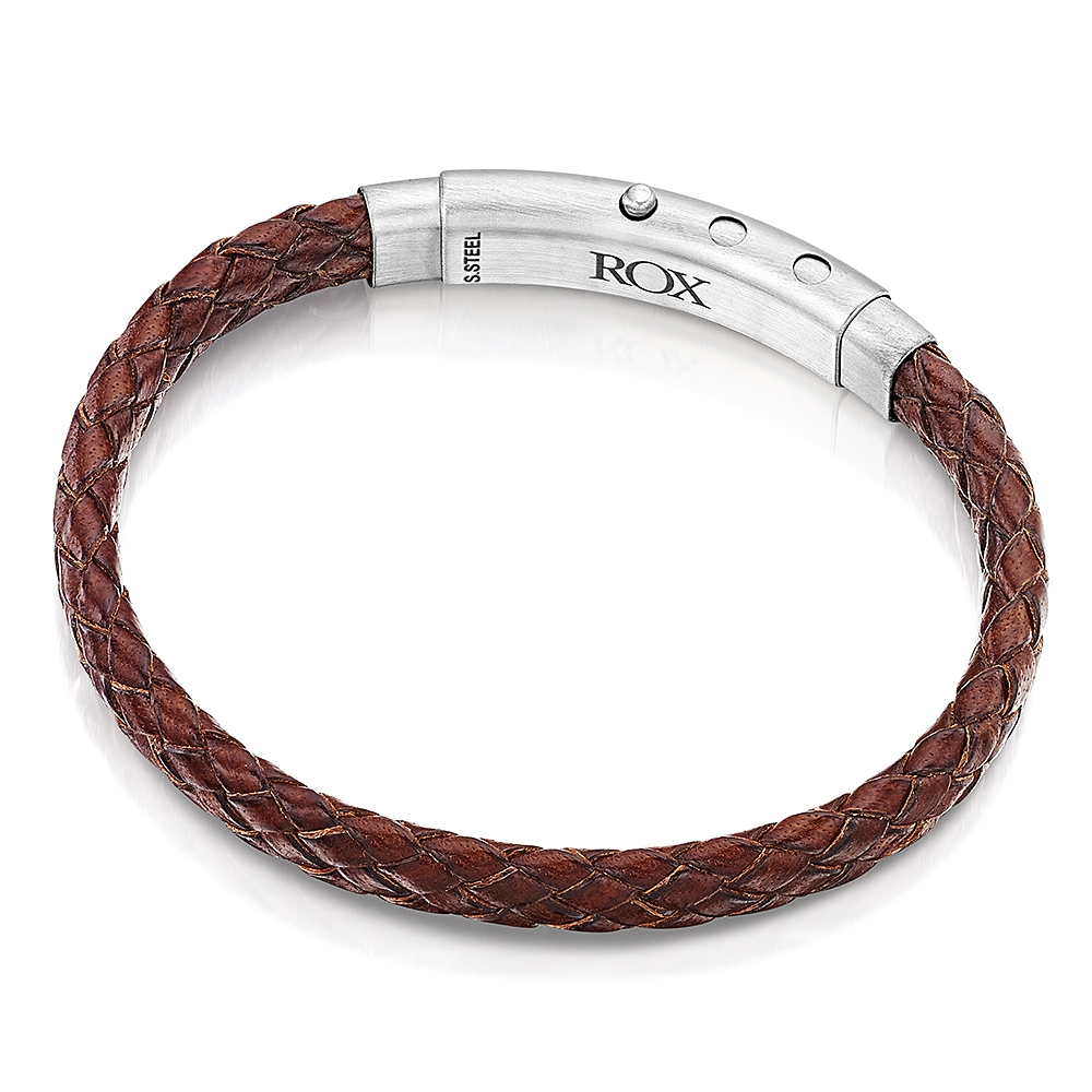 ROX Man Brown Woven Leather Bracelet