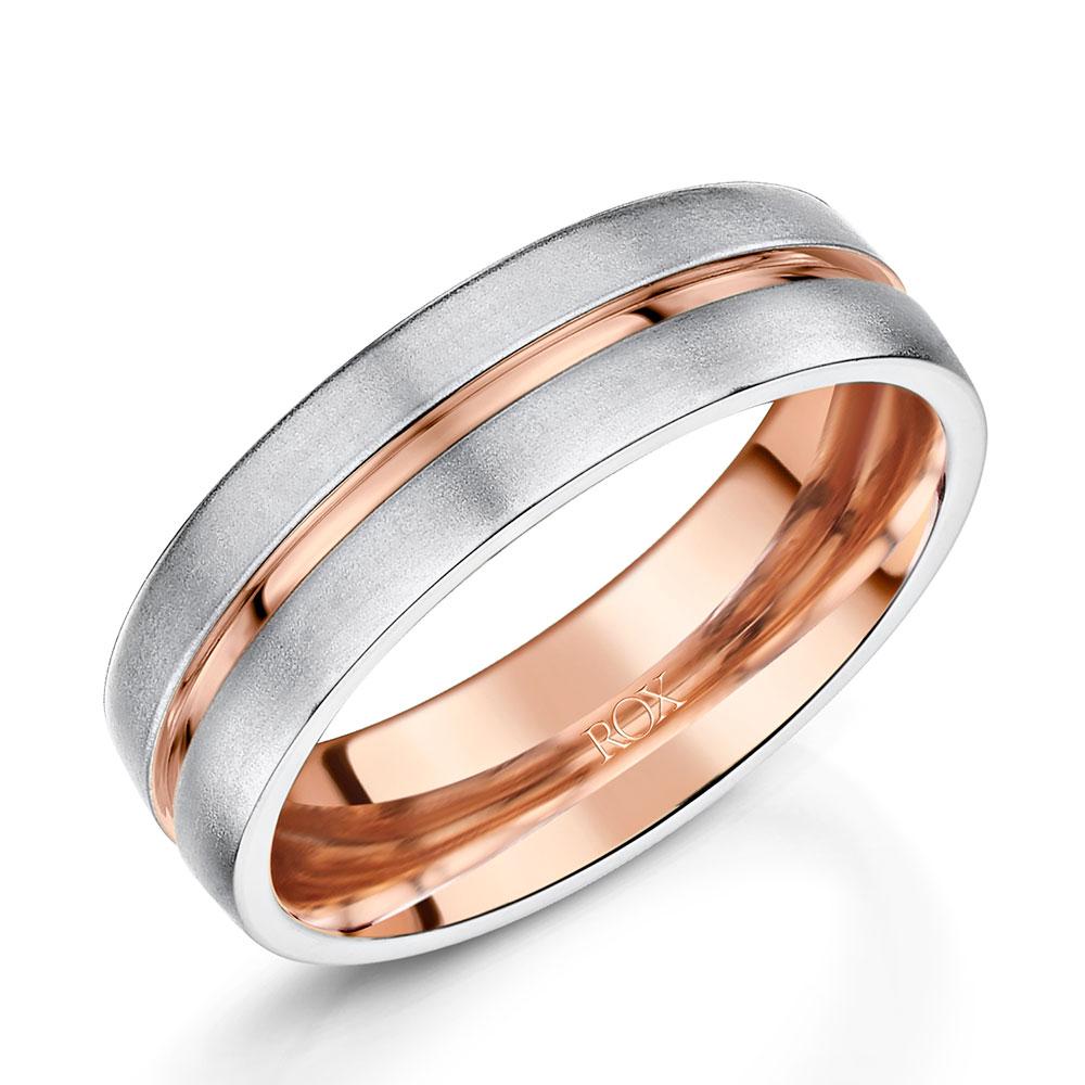 ROX Platinum & Rose Gold Wedding Ring 6mm