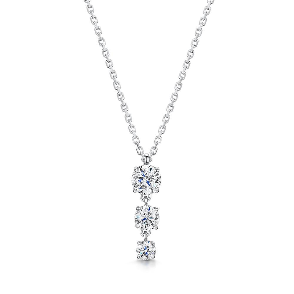 ROX Diamond Drop Trilogy Necklace 0.49cts