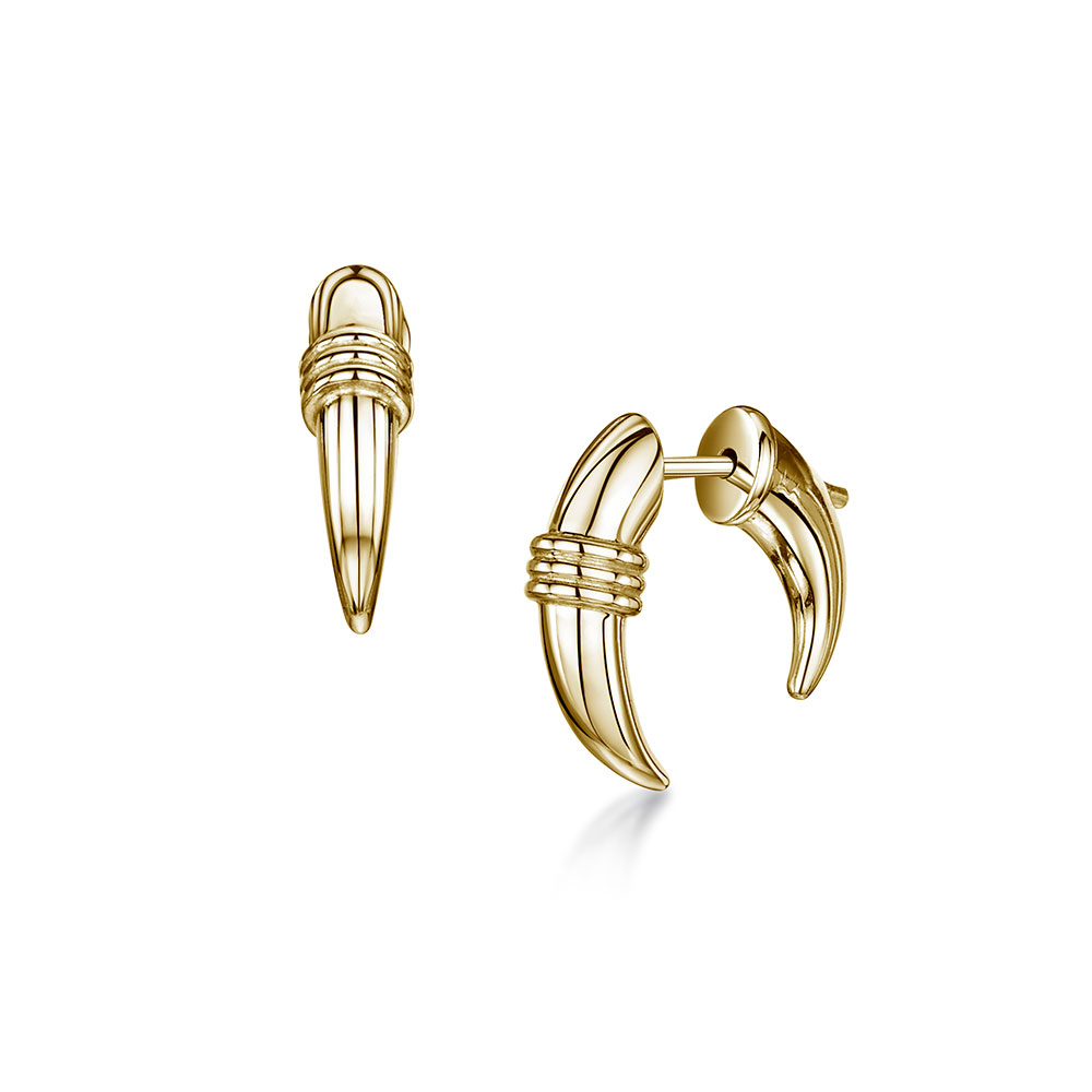 ROX Tribal Gold Vermeil Plated Small Horn Earrings