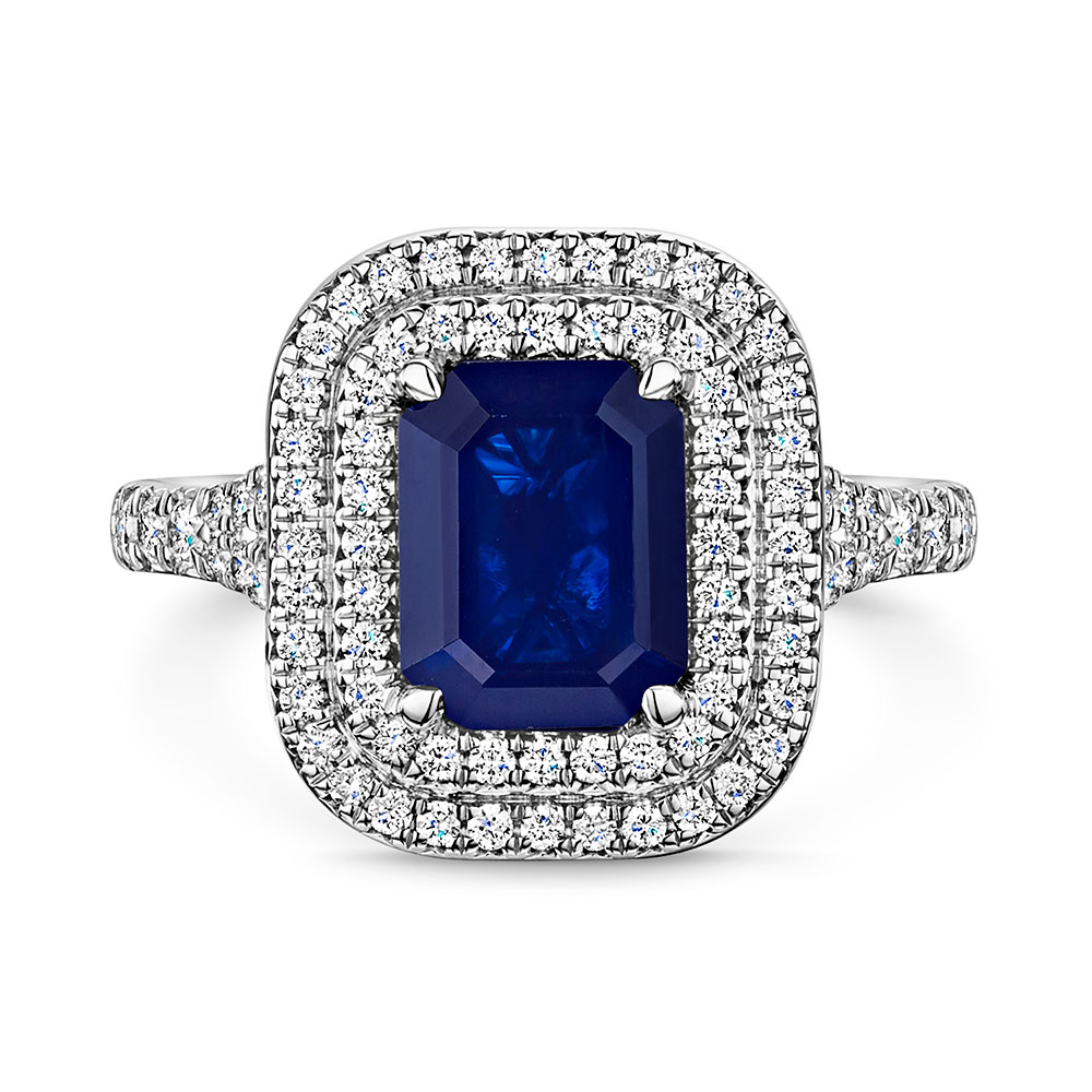 ROX Sapphire and Diamond Double Halo Ring 2.79ct