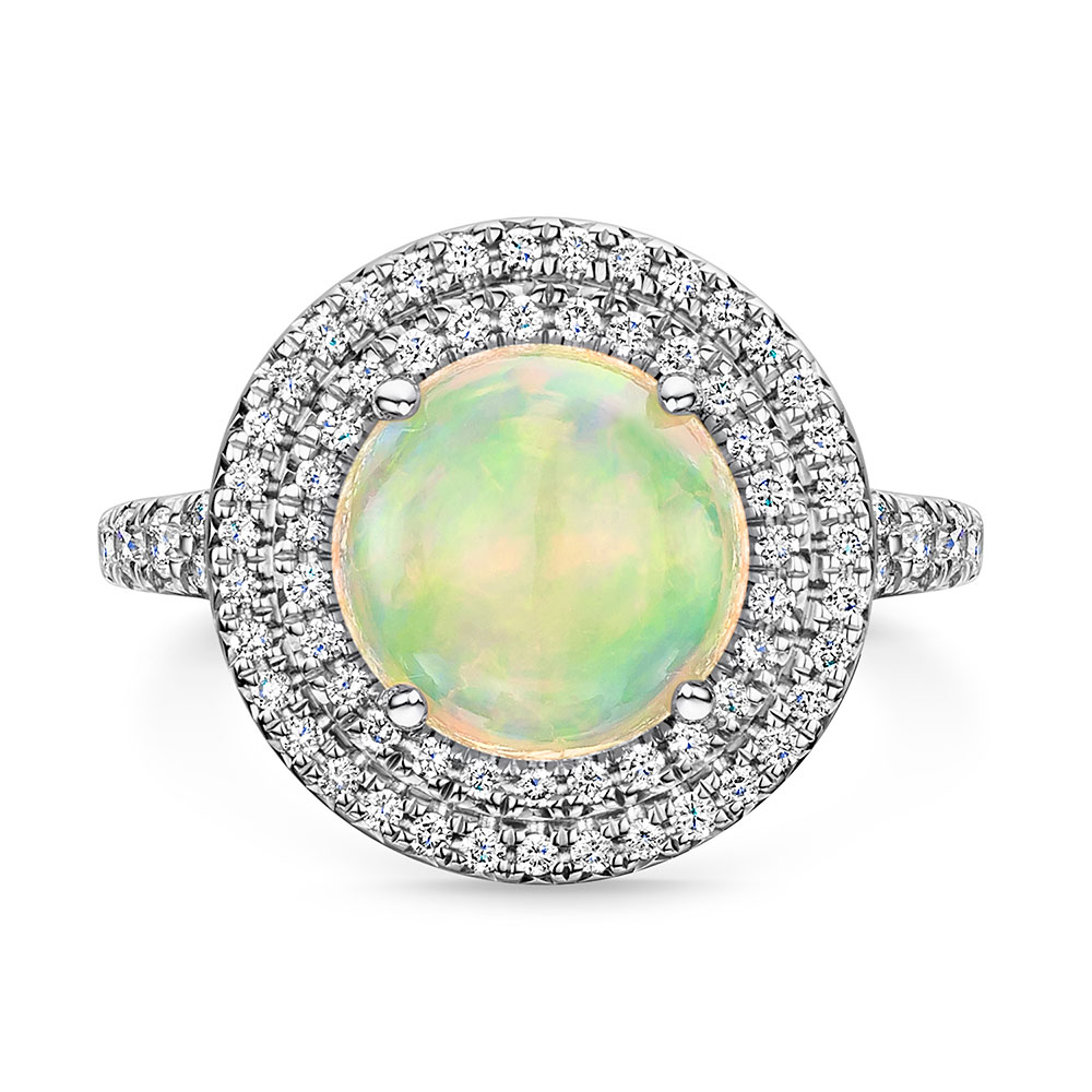 ROX Opal and Diamond Double Halo 2.22/0.55ct