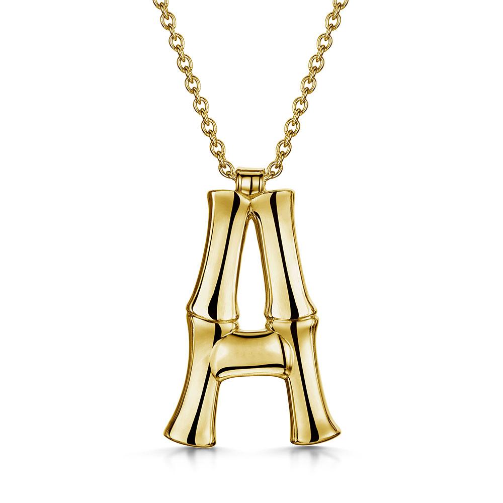 ROX Bamboo Gold Vermeil Letter A Pendant