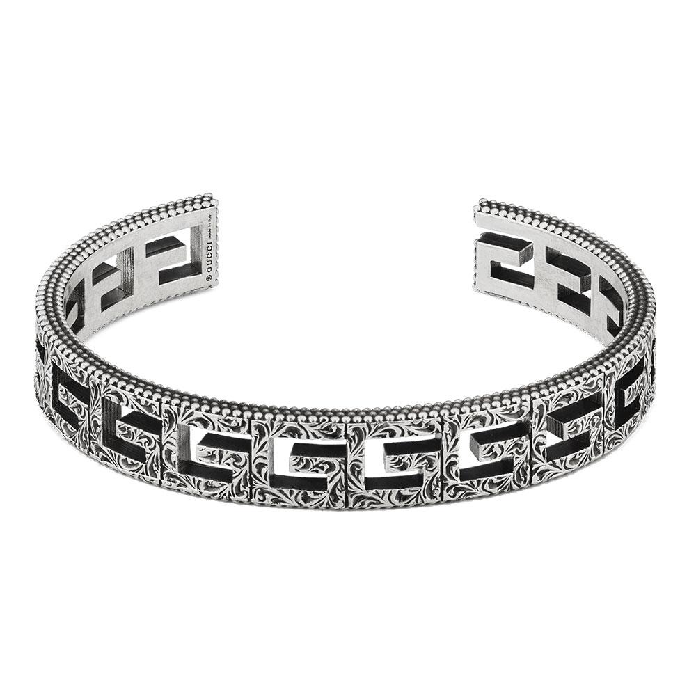 Gucci G Cube Wide Aged Silver Bracelet