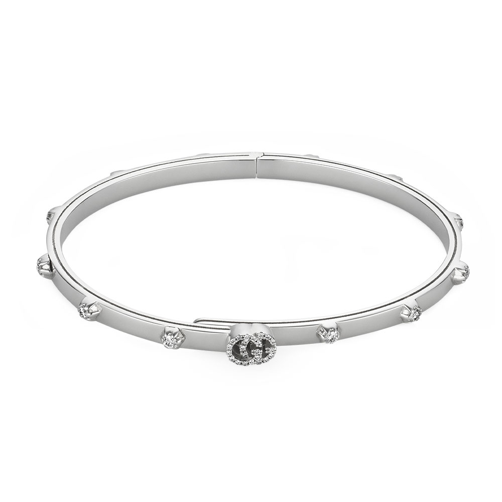 Gucci Running G White Gold Diamond Bangle