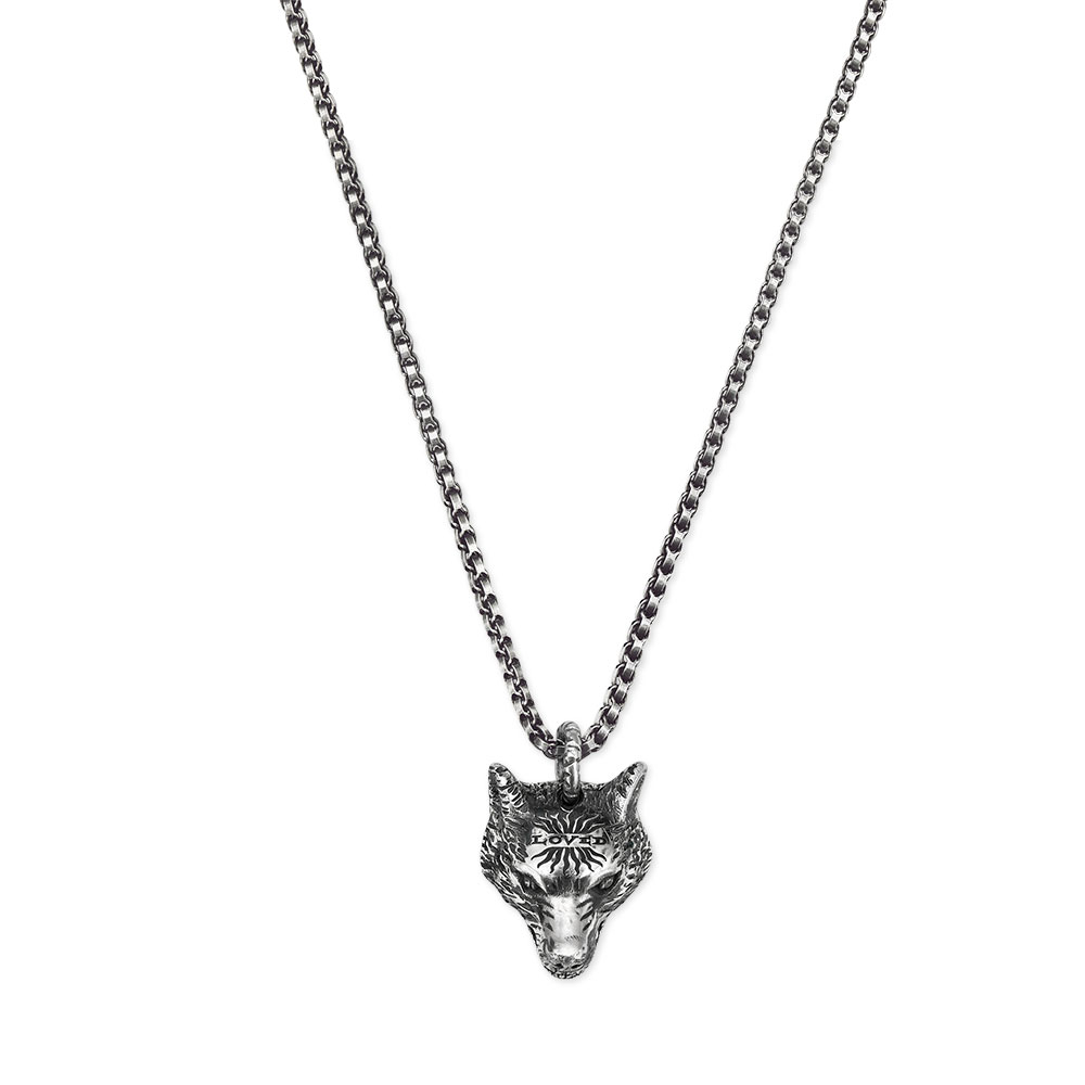 Gucci Anger Forest Wolf Head Silver Necklace