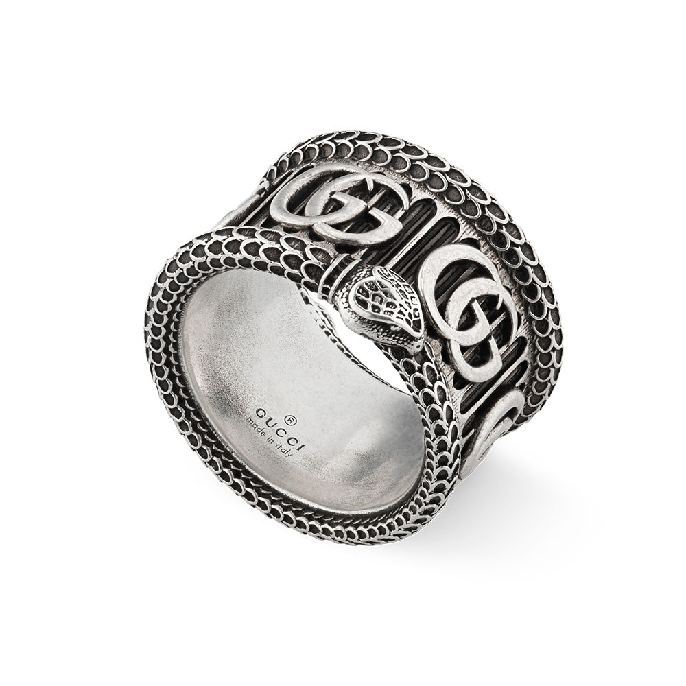 Gucci GG Marmont Snake Aged Silver Ring