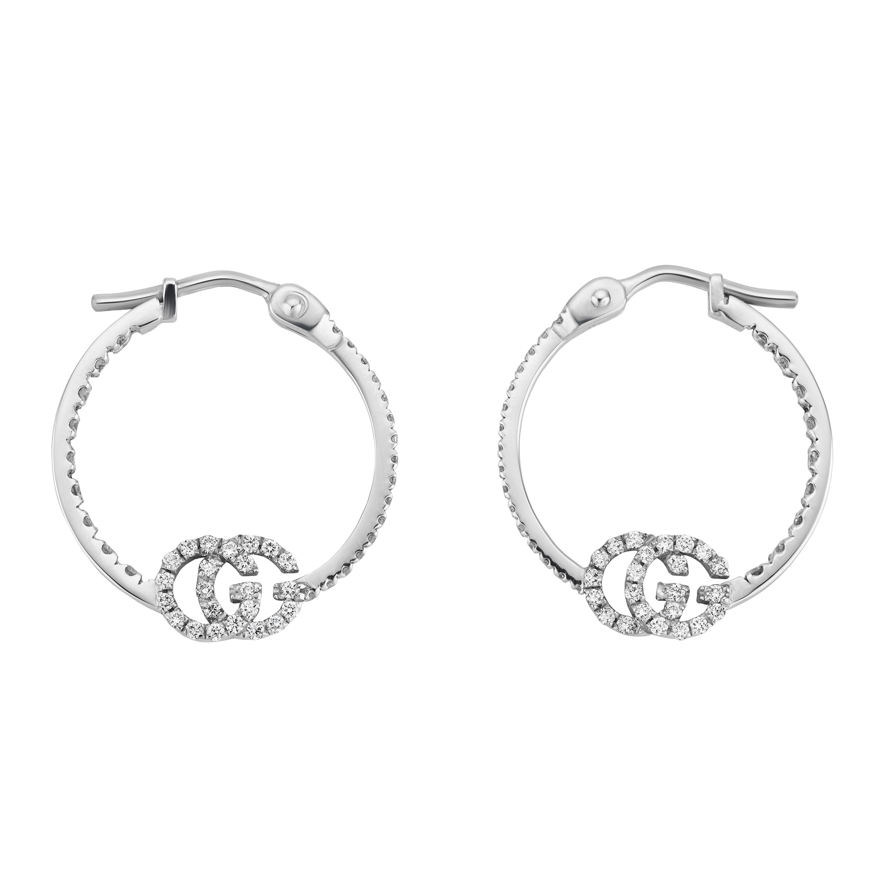 Gucci Running G Diamond Hoop Earrings