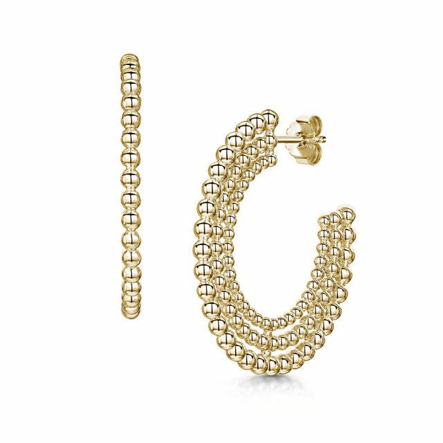 ROX Orbit Gold Vermeil Plated Row Beaded Hoop Earrings