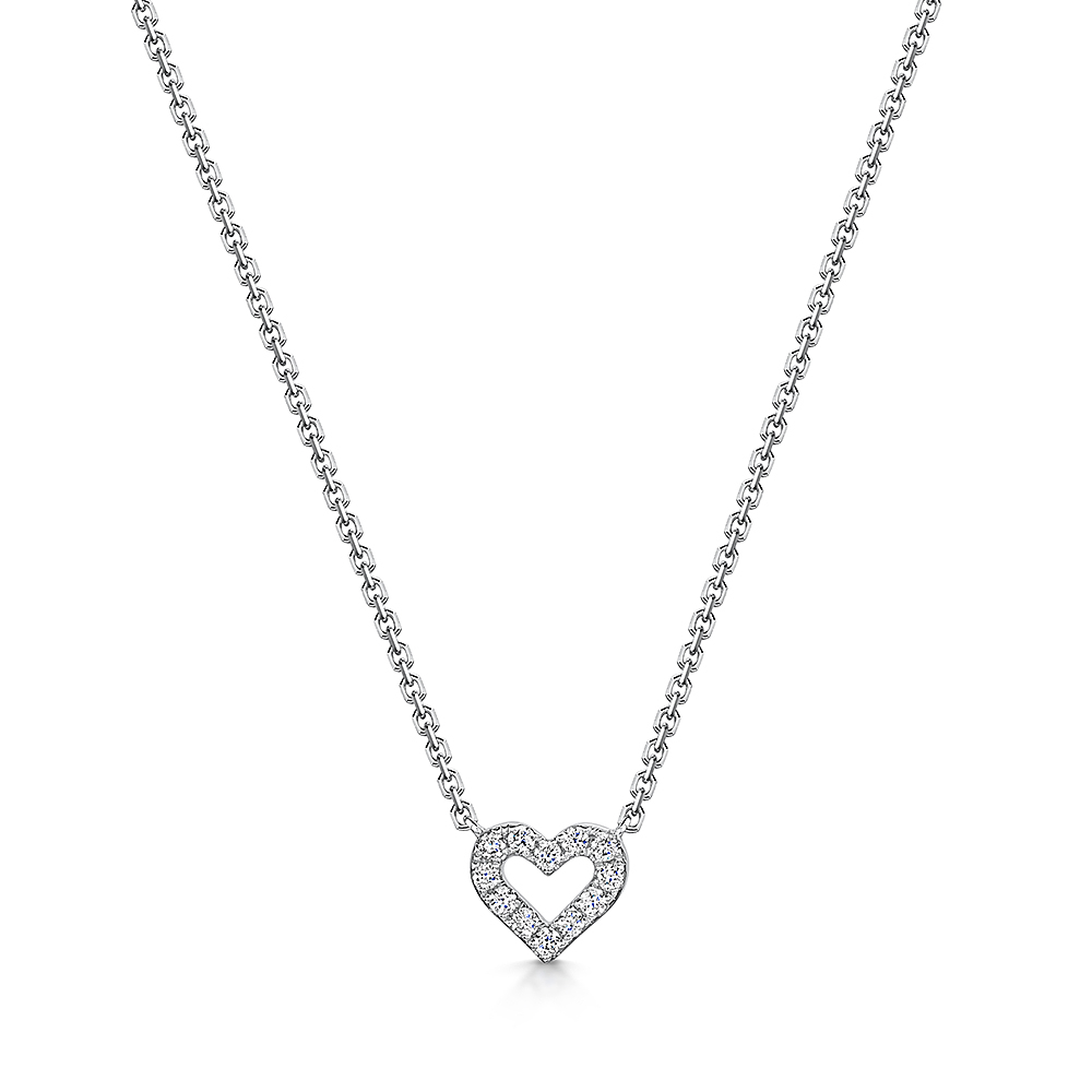 Heart Diamond Necklace 0.12cts
