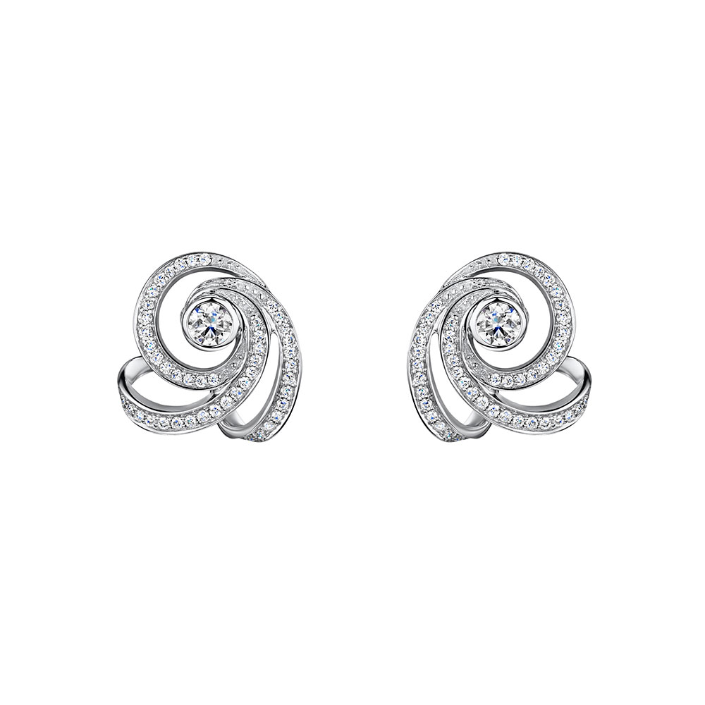 Cosmic Diamond Swirl Earrings 0.60cts