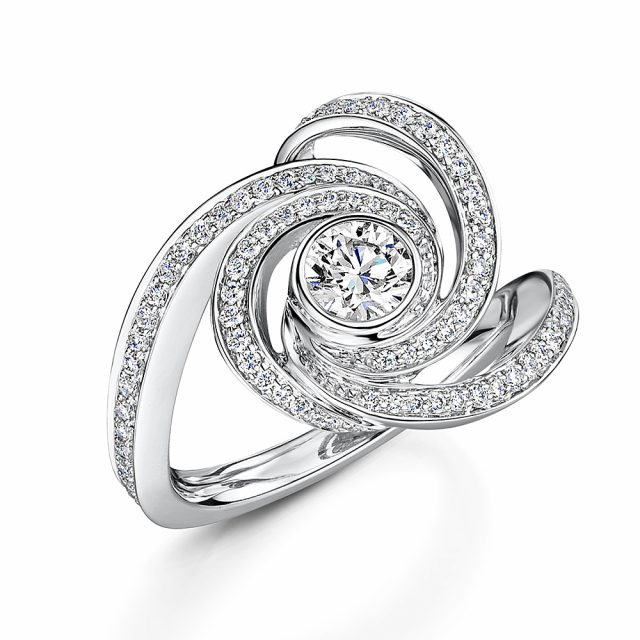 Cosmic Diamond Swirl Dress Ring 1.30cts