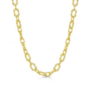 ROX Cane Yellow Oval Link Necklace
