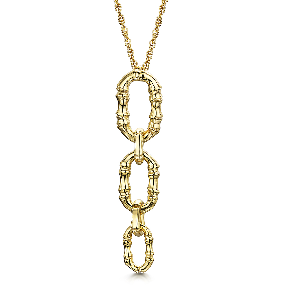 ROX Cane Yellow Oval Drop Necklace