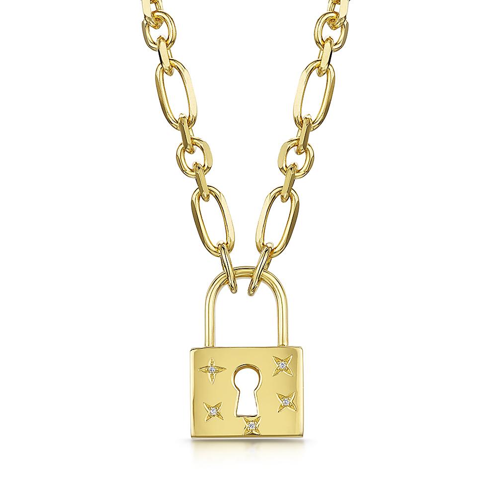 ROX LOX Padlock Diamond Necklace 0.01ct