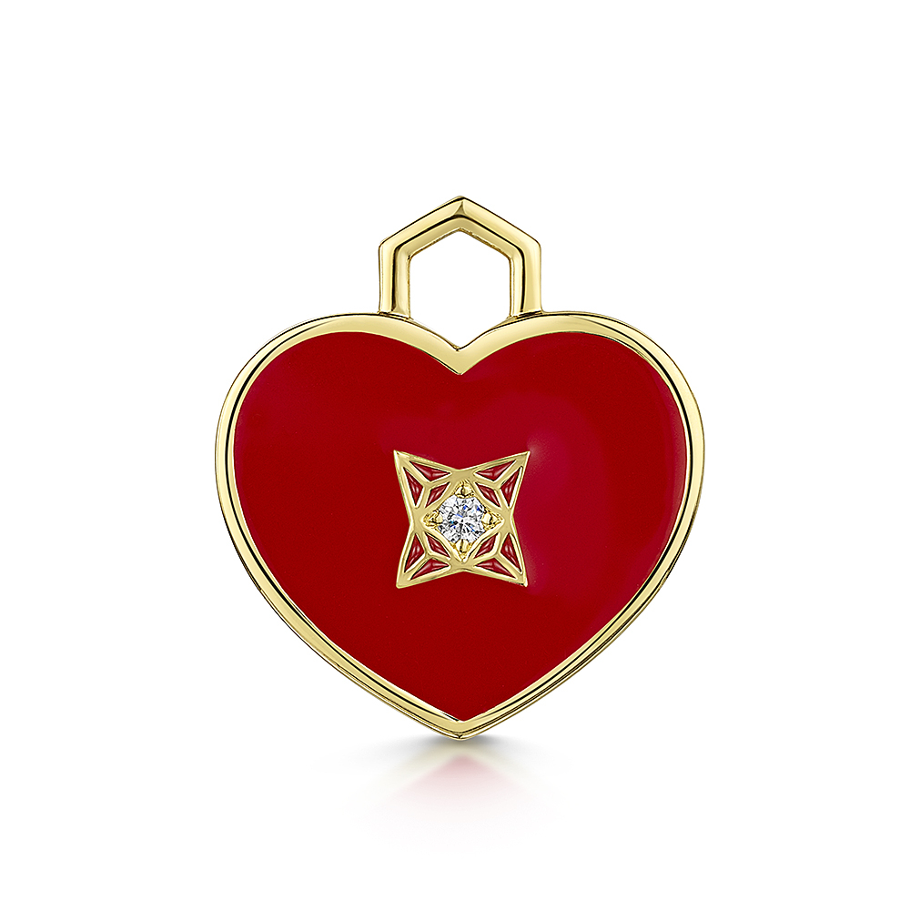 ROX LOX Diamond Red Enamel Heart 0.04cts