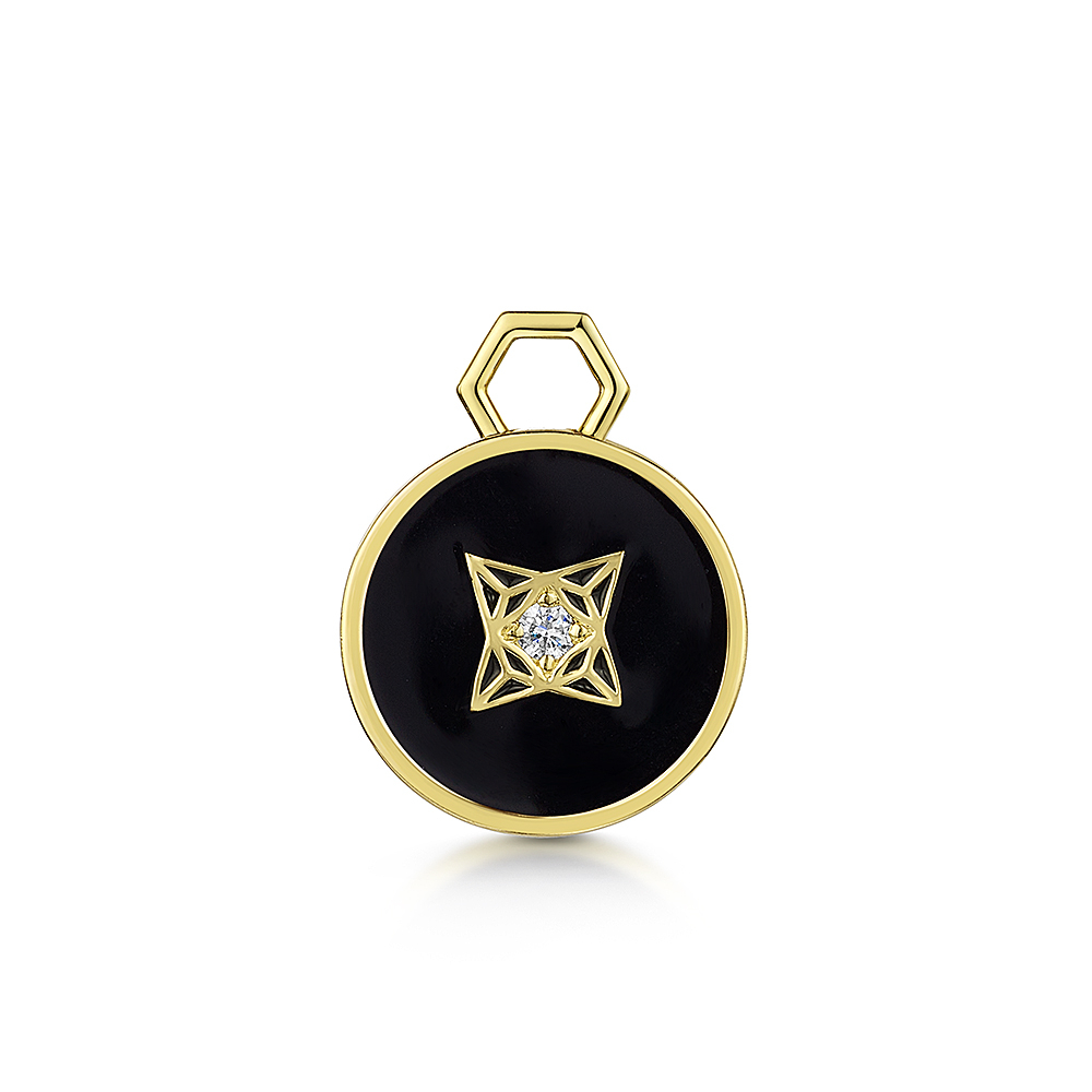 ROX LOX Diamond Black Enamel Disc Charm