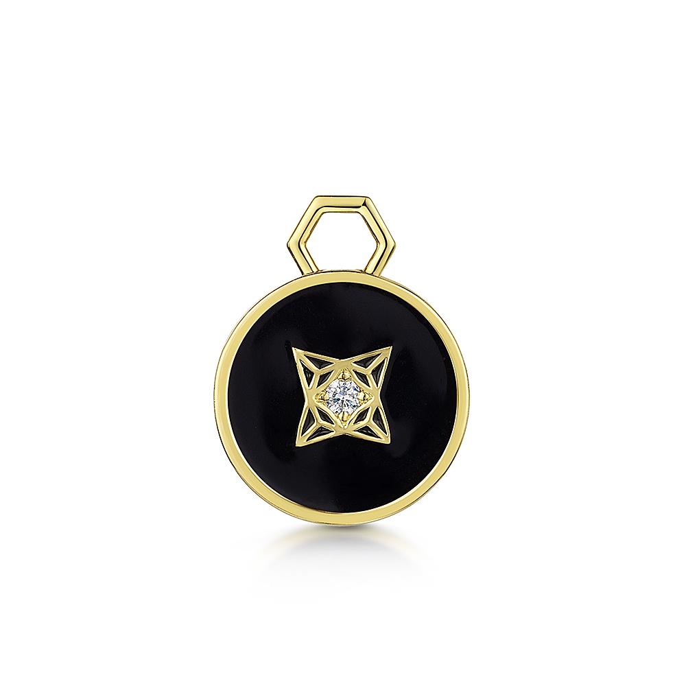 ROX LOX Diamond Black Enamel Disc Charm