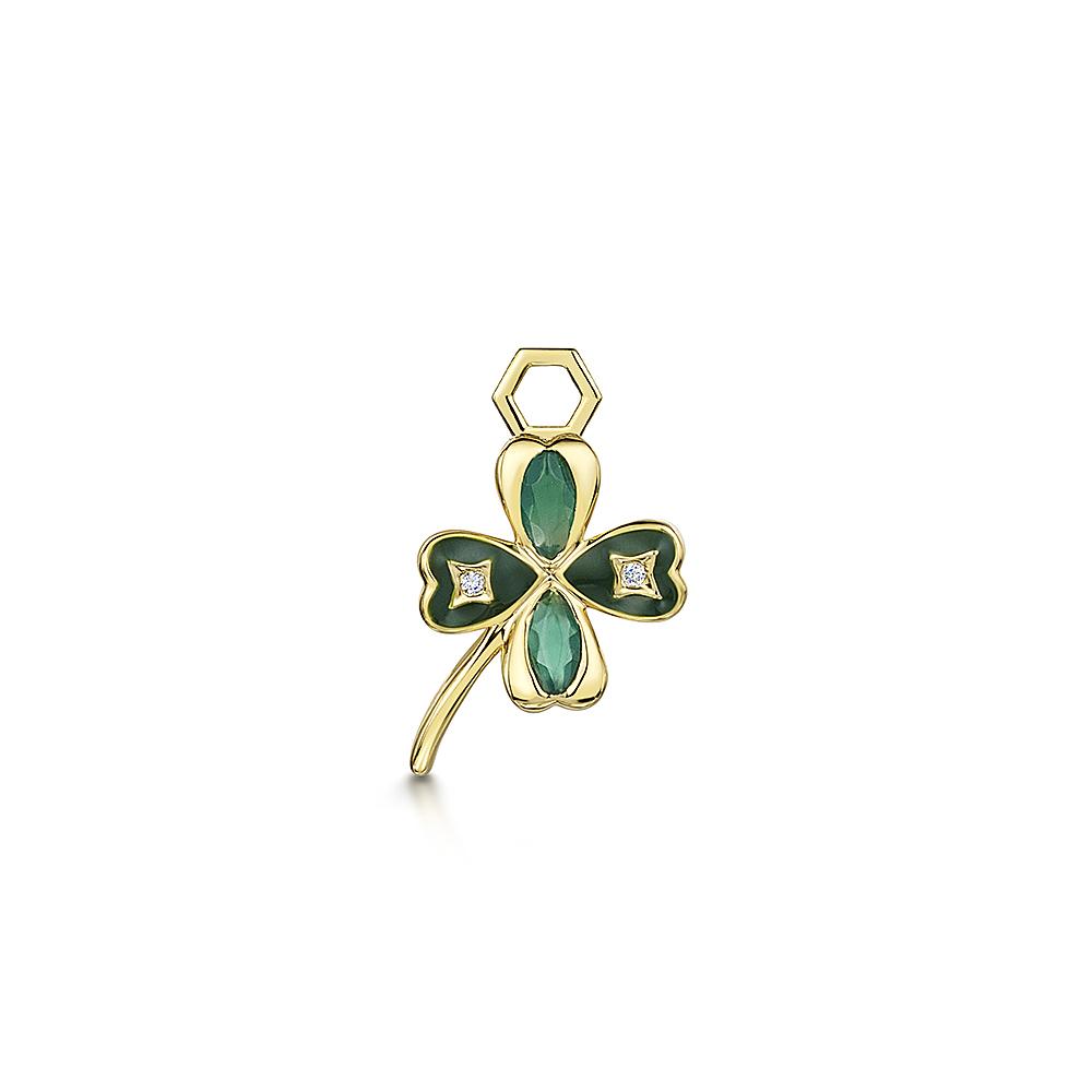 ROX LOX Diamond & Agate Clover Charm